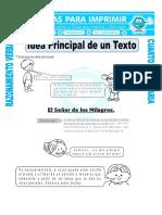 Ficha Idea Principal de Un Texto Para Cuarto de Primaria