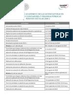Calendario Academico Licenciaturas Derecho CyFP 2018