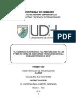 """""""EL COMERCIO ELECTRÓNICO Y LA RENTABILIDAD EN LOS PYMES EN  ÁREA DE ACCESORIOS TECNOLÓGICOS DE LA CIUDAD DE HUANUCO- 2018"""