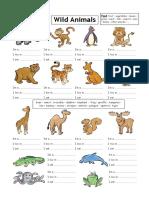 Wild Animals Reading Writing Worksheet Fun Activities Games 1642