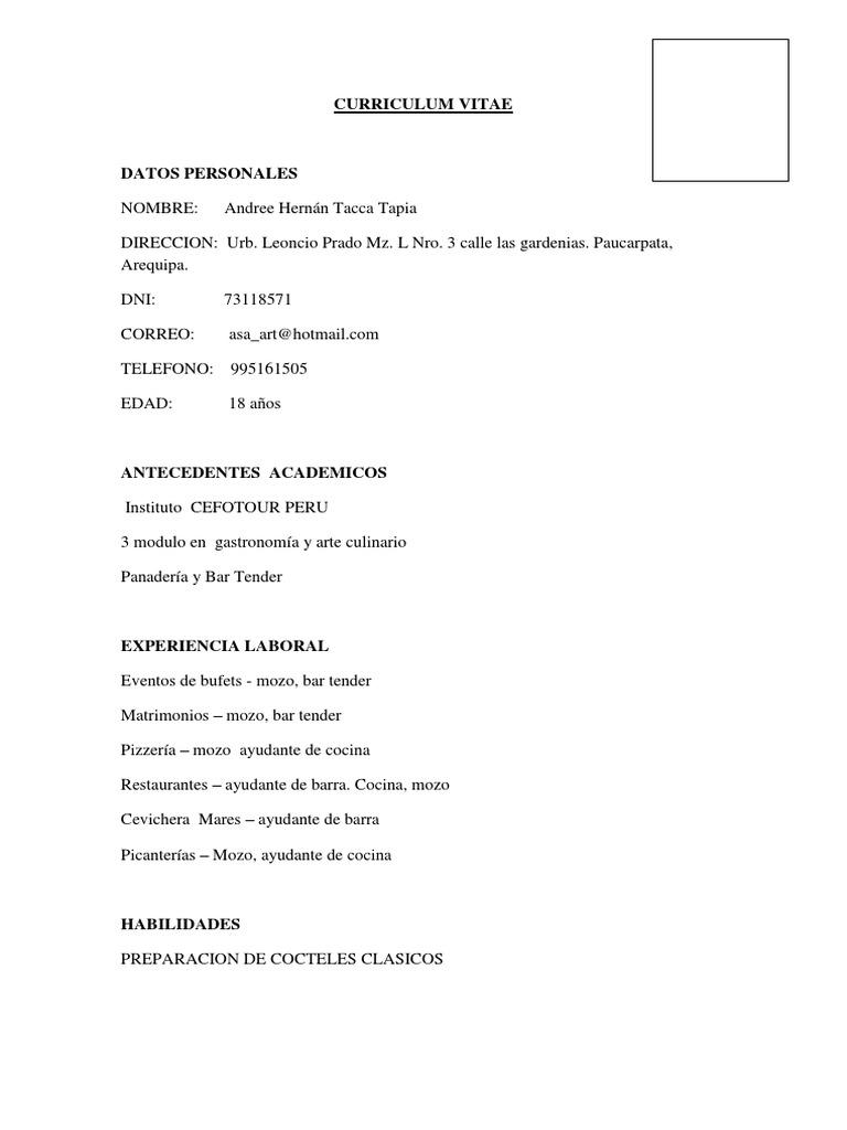 Magnífico Reanudar Ejemplos De Artes Culinarias Ideas - Ejemplo De ...