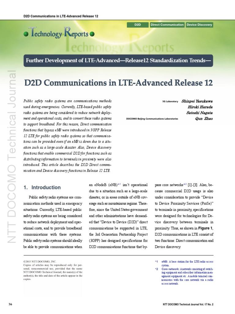 D2D NTT Docomo | Telecommunication | Cellular Network