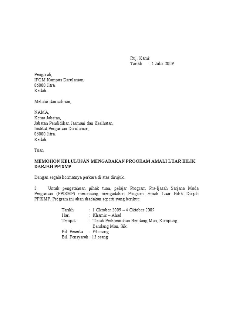 Surat Permohonan Mengadakan Program