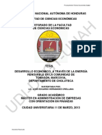 Desarrollo Económico, A Través de La Energía Renovable en La Comunidad de Tomasón, Marcovia, Departamento de Choluteca