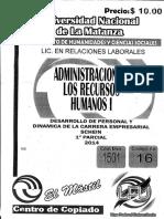 Administración de Los Recursos Humanos I Desarrollo de Personal y Cinámica de La Carrera Empresarial Schein