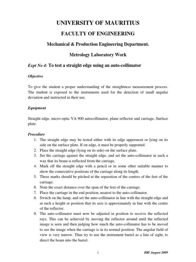 Metrology_Autocollimator_LabSheet | Mirror | Applied And