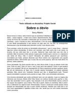 'Sobre o Óbvio' - Darcy Ribeiro