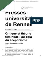 Anne Besnault-Levita - Critique Et Théorie Féministe - Au-Delà Du Scepticisme