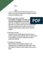 Resumen PPT Alcohol y Sus Efectos