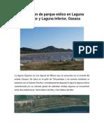 Instalación de Parque Eólico en Laguna Superior e Inferior Oaxaca