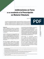 Algunas Consideraciones en Torno a La Renuncia a La Prescripcion en Materia Tributaria - Juan Aguayo