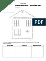 Ficha de Trabajo- Adjetivos Numerales, Posesivos y Demostrativos