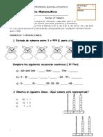 evaluación matemática centena