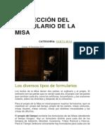 La Elección Del Formulario de La Misa