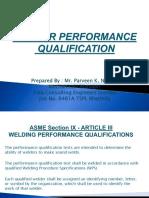 Welder Performance Qualification