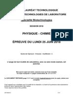 BAC STL 2018 Specialité Biotechnologies Sujet Physique Chimie