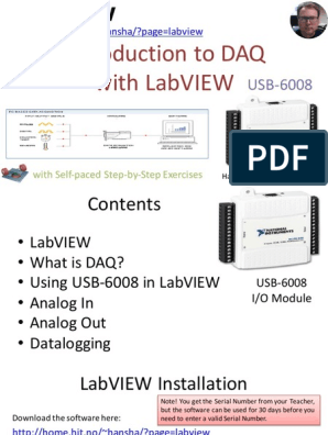 Introduction to DAQ with LabVIEW and USB-6008 - Overview pdf