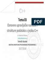 OOP 03 Osnovne upravljačke naredbe i strukture podataka u jeziku C++