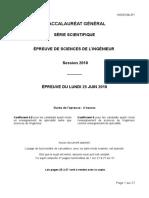 Bac s 2018 Sciences de l'Ingenieur Sujet