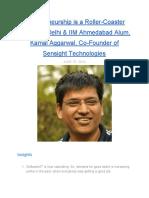 Entrepreneurship is a Roller-Coaster Ride - Says IIT Delhi & IIM Ahmedabad Alum, Kamal Aggarwal, Co-Founder of Sensight Technologies