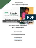 Síntesis Educativa Semanal de Michoacán al lunes 25 de junio de 2018.