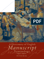 Beal a Dictionary of English Manuscript Terminology 1450 to 2000 2008