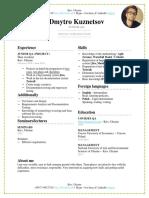 CV Junior QA (Dmytro Kuznetsov)