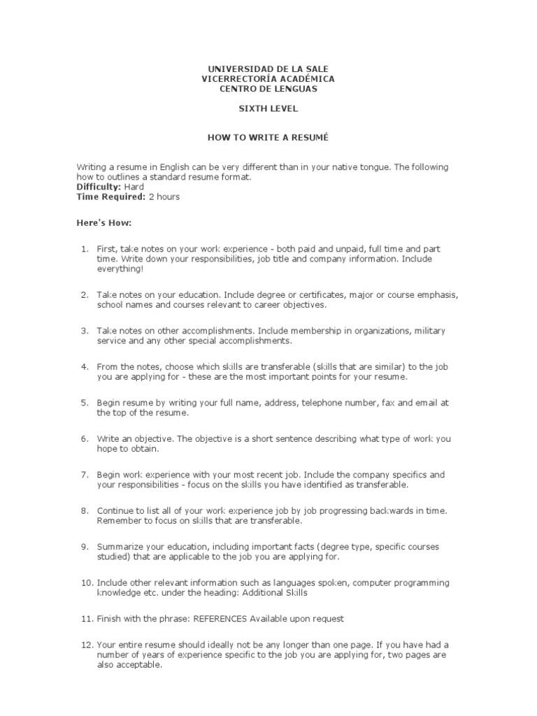 HOW TO WRITE A RESUMÉ (cv)   Résumé   Communication