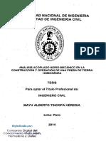 Acoplado Hidromécanico construcción Operación Presa Tierra