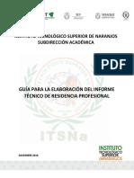 Guia Para La Elaboración Del Informe Tecnico de Residencia Profesional