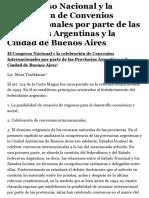 El Congreso Nacional y la celebración de Convenios Internacionales por parte de las Provincias Argen