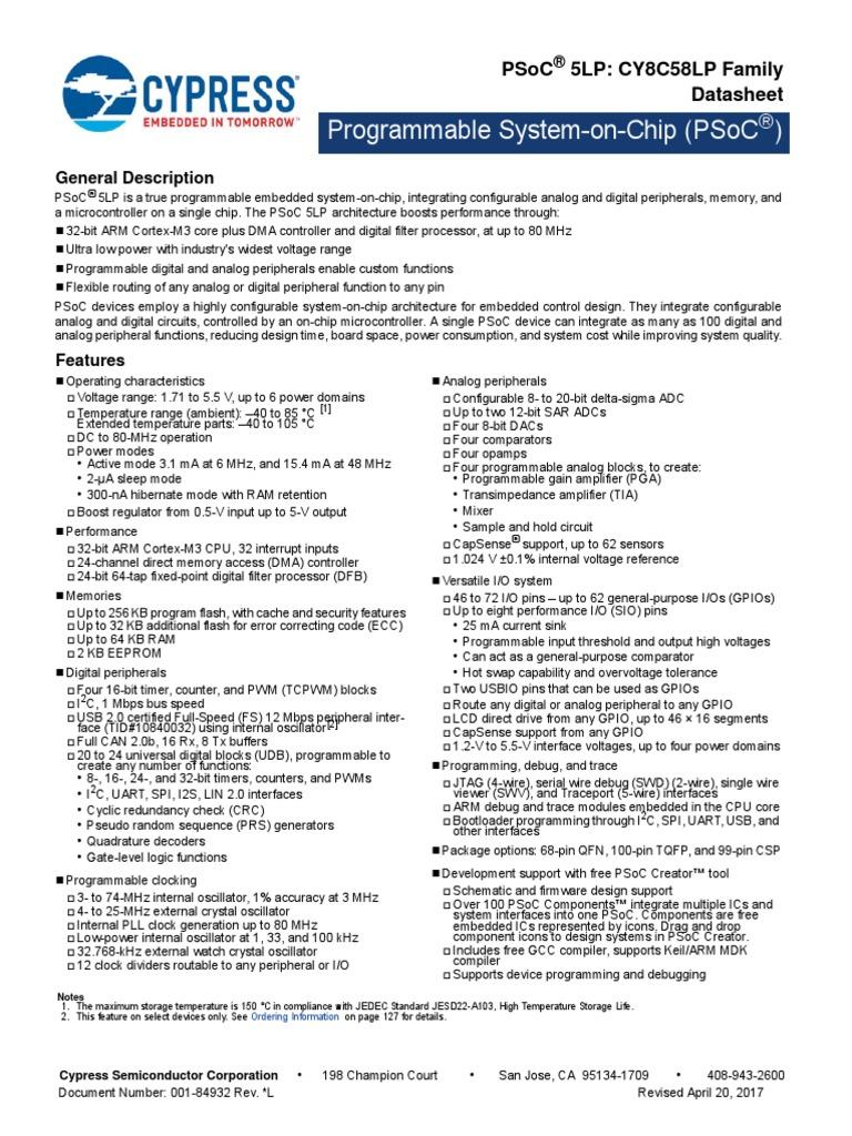 CY8C58LP PSoC ® 5LP programmable SOC Fille Board pour PSoC Development Kit