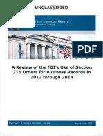 FBI Use of Section 215 Surveillance