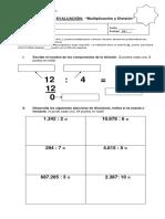 Evaluación division 5°