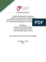 Análisis de la protección constitucional y ponderación de derechos frente a la implementación de la maternidad subrogada en el Perú, 2012 - 2013.docx