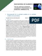 Determinación de La Actividad Catalítica de La Actividad Catalítica de La Peroxidasa