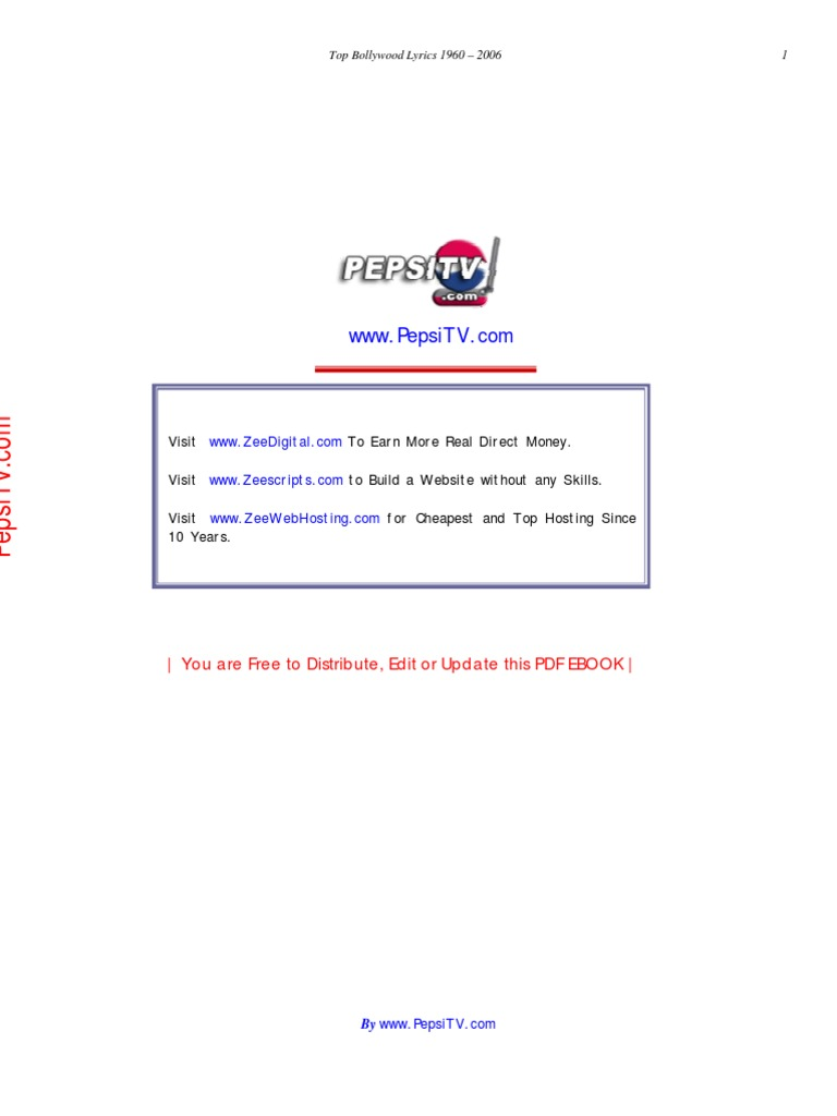 Hindi Lyrics E Book Free Download