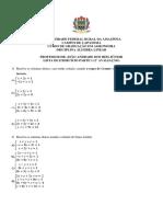 2 Lista de Exercício Sistemas Lineares Nap2