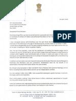 Letter to Prime Minister
