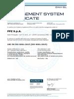 9. Certificado de Sistema de Gestión de Proveedor de Soplador Fpz