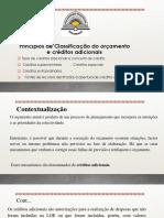 Princípios de Classificação Do Orçamento e Créditos Adicionais