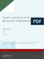Sujeto y Escritura en La Narrativa de Di Benedetto