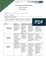 Rúbrica de evaluación de afiche publicitario 1° medio