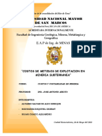 Costos de Metodos de Explotacion en Mineria Subterranea