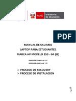 Manual Laptop Estudiantes Recovery Instalacion HP250 I3-OC175yOC137 F