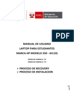 Manual Laptop Estudiantes Recovery Instalacion HP250 I3-OC175yOC137 F