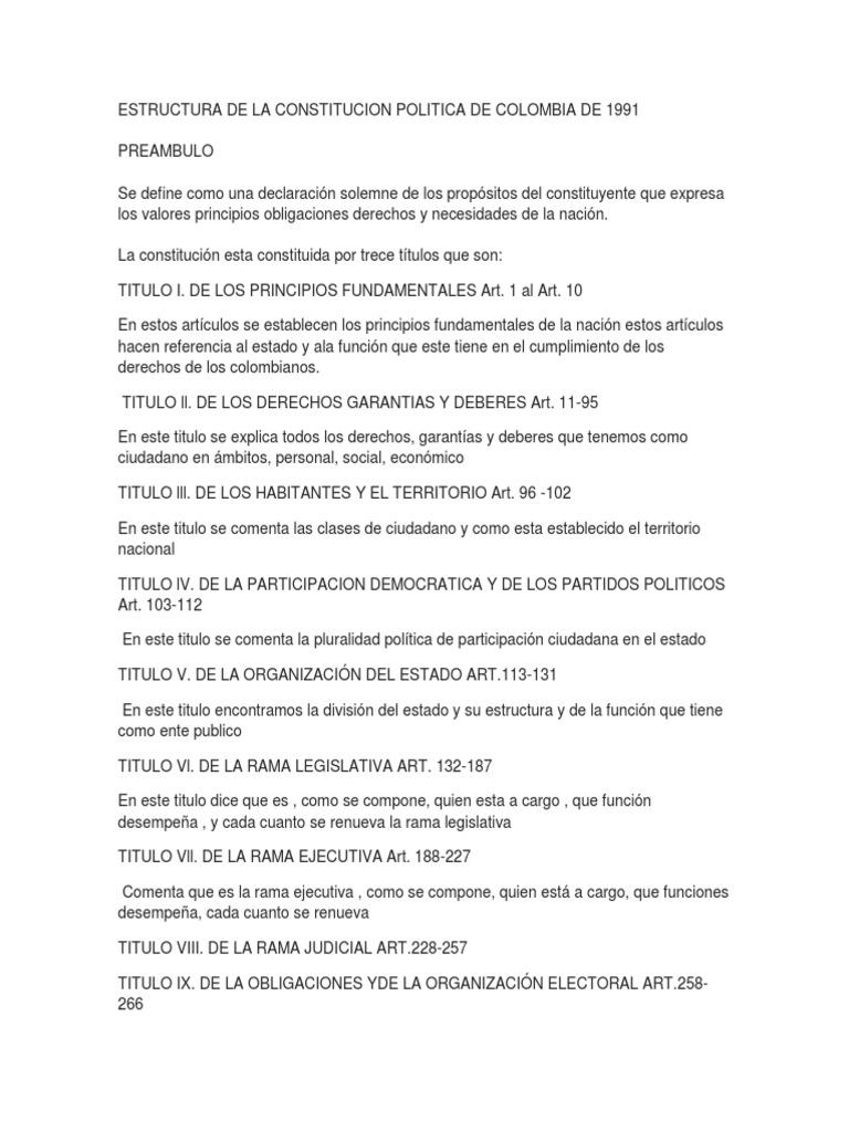 Estructura De La Constitucion Politica De Colombia De 1991