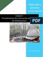 Unidad 4. Procedimientos de Construcción en La Etapa de Infraestructura