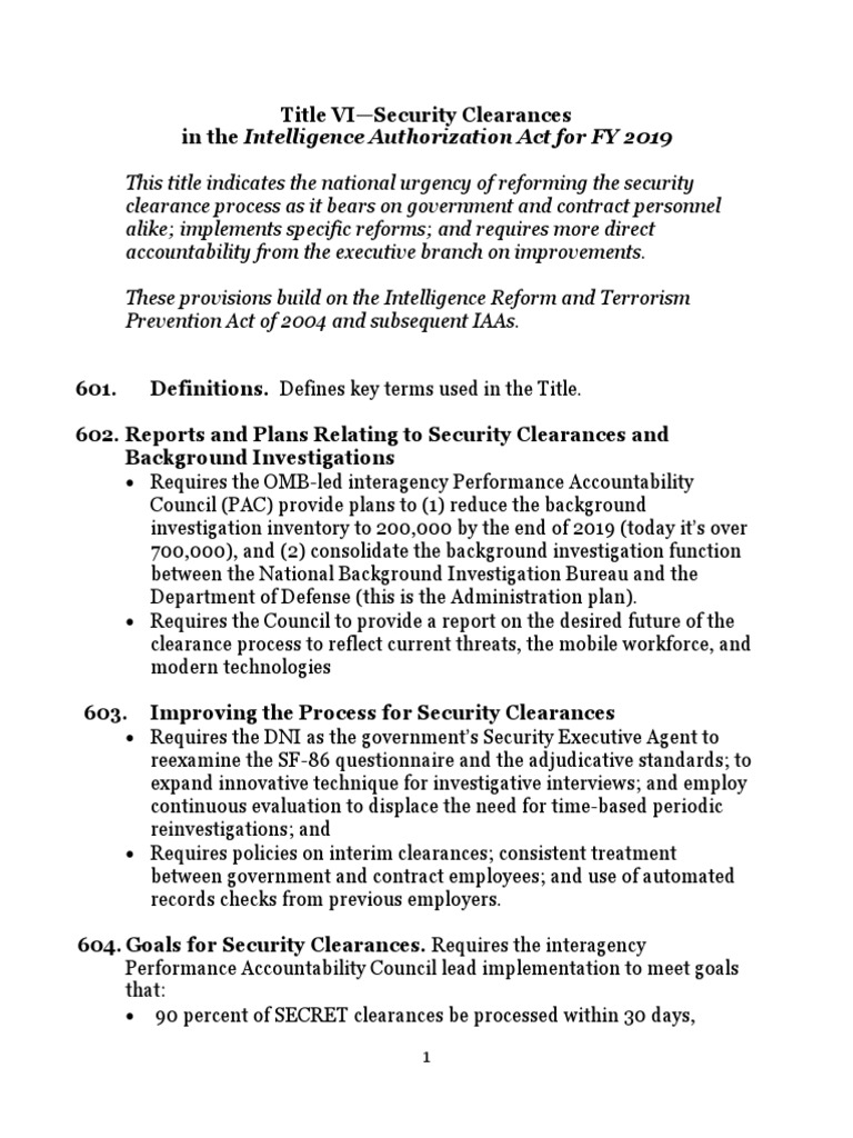 Summary of Security Clearance Amdts | Security Clearance | National