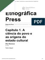 Vozes Do Povo - Capítulo 1. a Ciência do Povo e as Origens do Estado Cultural